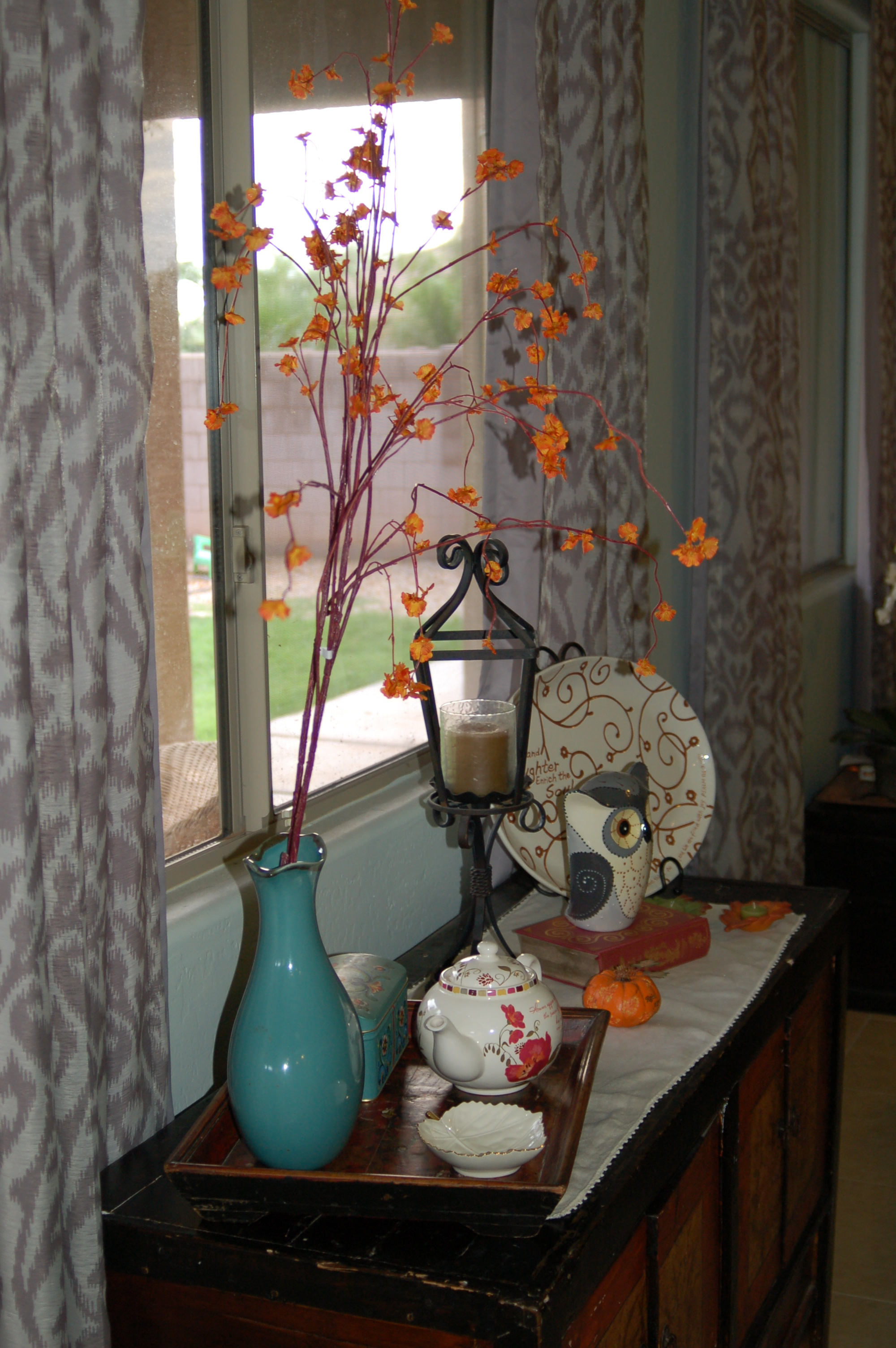 fantabulous women tabitha dumas fall open house sideboard branch orange